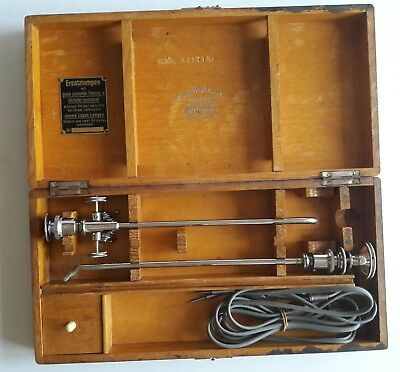 Antique Cystoscope in Original Wooden Case Wolf Berlin with Karl Zeiss Jena Lens