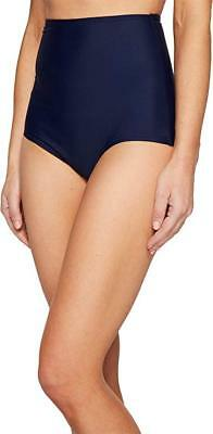 b726f3aecbc20 Unique Vintage Women s Louise High Waisted Button Back Swim Bottoms Navy  Swimsui