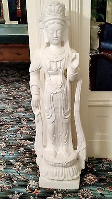 "Chinese White Carrara Marble Statue Of Kwan-Yin 20Th Century 54"" Tall 15 "" Wide"