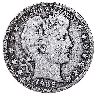1909 D Barber Quarter 90% Silver Very Good VG