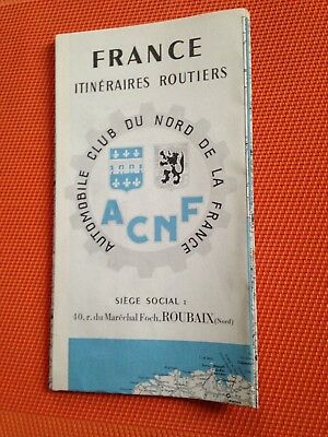 Ancienne Carte France Itineraires Routiers Acnf 1957