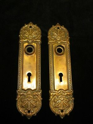 "2 vintage brass Door Plates ornate Victorian - Art Nouveau era 8 3/8"" long 2""w"