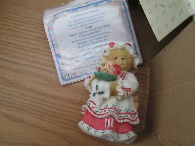 "CHERISHED TEDDIES ""HOLLY"" A Cup of Homemade Love 1995 Christmas w Box"