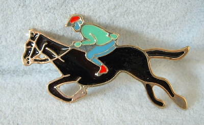 New Handcrafted Enamel Equestrian Running Jumping Black Horse & Rider Pin Brooch