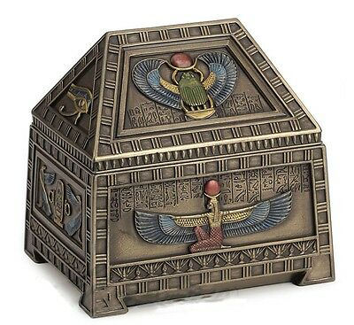 "5"" Egyptian Heart Scarab & Isis Trinket Box Egypt Home Decor Sculpture"