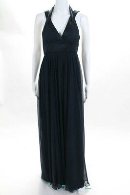 6b71aae43a33 Marchesa Notte Womens Dress Size 2 Navy Blue Silk Sleeveless V-Neck Empire  Waist