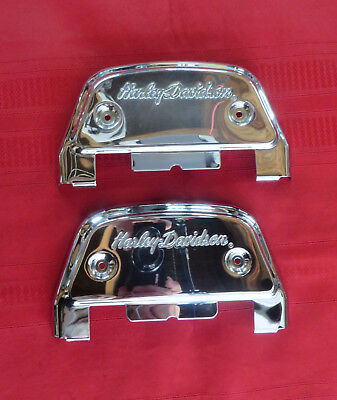 Harley FL Touring Chrome H-D Script Passenger Floorboard Covers P/N 50782-91