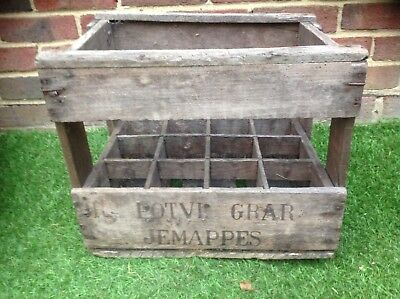 French Vintage Wooden Crate Wine Bottle Holder Country Rustic Storage Rack