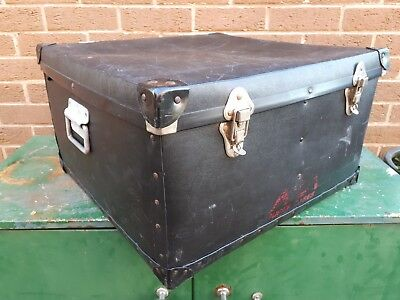 Large vintage black storage packing box flight box with strong handles
