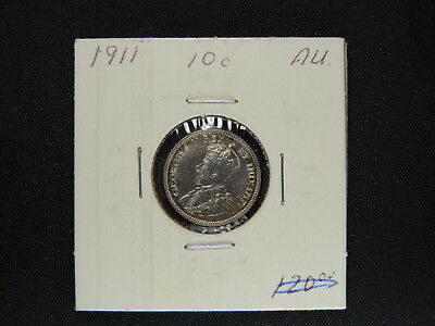 1911 10 Cent Coin Canada George V Ten Cents .925 Silver AU grade