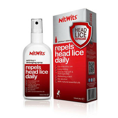 Nitwits Anti-Lice + Detangling Spray Head Lice Repellent 125Ml Repels Daily