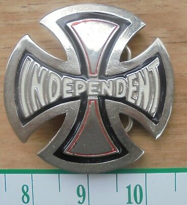 Independent Stash Cross Belt Buckle - black and white enamel