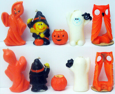 5 Different Vintage Halloween Candles Witch Pumpkin 2 Ghosts Owl Gurley Old