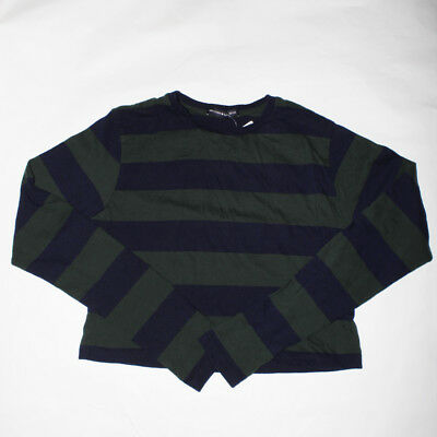 218ec1b53fc Brandy Melville navy blue and green striped crop top crewneck thermal