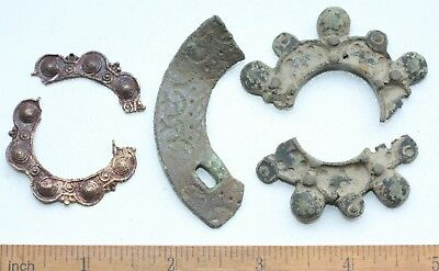 Group Of Ancient Old Bronze Fibula Brooch Fragments (NW03)