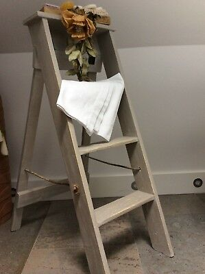 Antique French Industrial Wooden Step Ladder ~Quirky Towel Rail Decor ~Original!