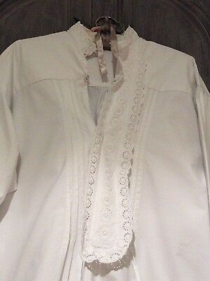 Antique French Chemise Night Shirt/Smock~Handwoven Linen Cotton~Broderie Anglais
