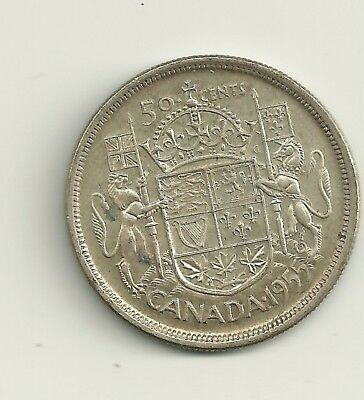 1955 Canada 80% Silver 50 Cent Mintage 753,511