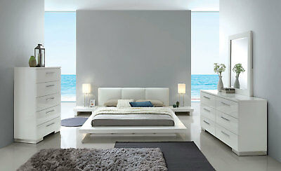 CONTEMPORARY WHITE LACQUER Bedroom Furniture - 5pc Set w/ Queen ...