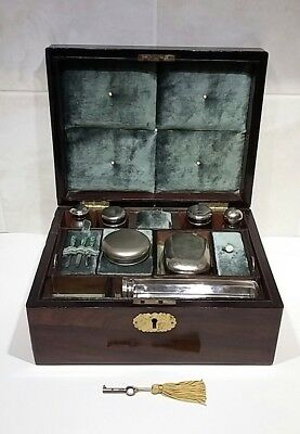 Antique Wooden Box Vanity Box With Key And Contents
