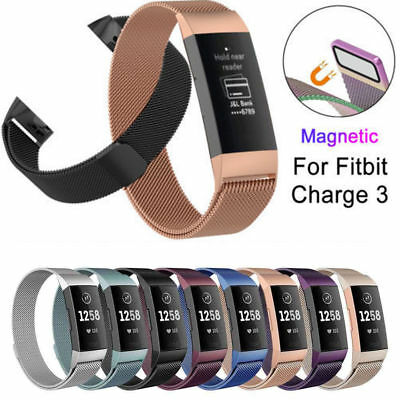 Magnetic Milanese Stainless Steel Wrist Strap Watch Band For Fitbit Charge 3