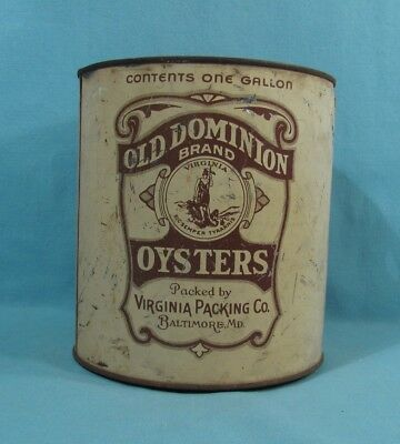 Gallon Size - Old Dominion Oyster Tin Can - Virginia Packing Co. - Baltimore, MD