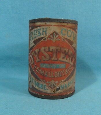Mallory & Co - EARLY Soldered Oyster Tin w/ Original Label Baltimore Md Maryland
