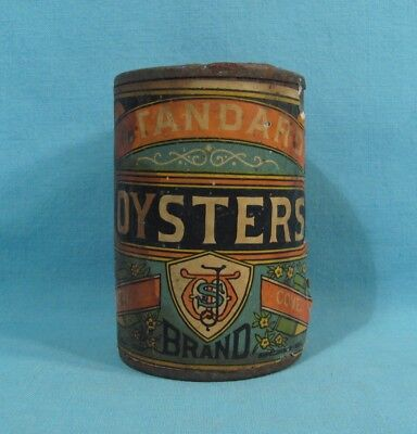 Jas. Wallace Cambridge MD Maryland - EARLY Soldered Oyster Tin w/ Original Label