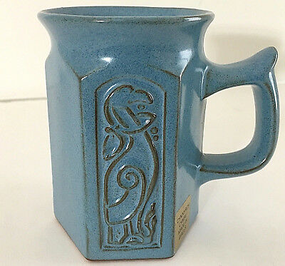 "Made in Wales Blue Hexagonal Mug with Celtic Design CYNNYRCH CYMRU Tag 4""H EUC"