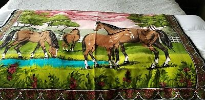 Vtg A.T.C. NY  Horses in field ,Cotton Tapestry Wall Hanging HUGE 54x38