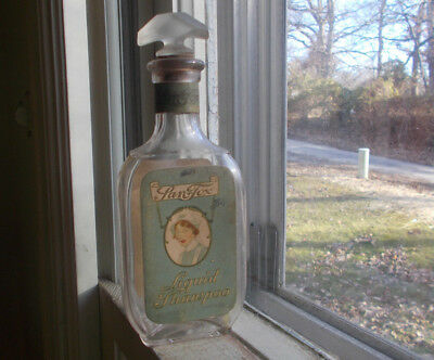 San Tox Liquid Shampoo 100 Yr Old Bottle With Labels & Fancy Glass &cork Stopper