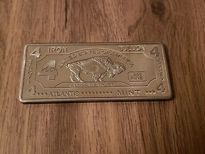 4 troy oz Iron buffalo bullion bar .999 pure FINE
