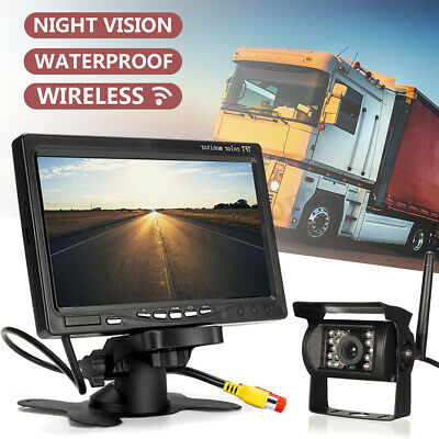 "7"" LCD Monitor Car Rear View Kit 12-24V for Bus Truck Car+ IR Reversing Camera"