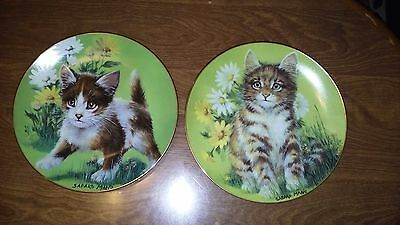 Daisy Cat Kitten 1982 Bi-Annual Series Lim Ed Plate Sadako Mano Set of 2 EC