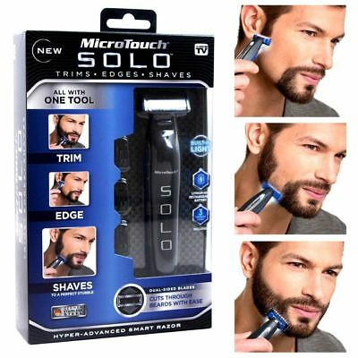 Micro Touch Men SOLO USB Rechargeable Hair Trimmer Razor Shaver W/ 3 Combs NEW