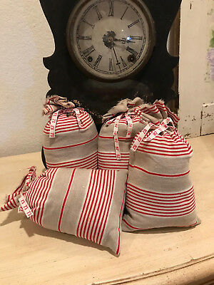 ONE Lovely Large Vintage French Red Stripe Linen with Lavender Buds Sachet
