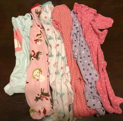 Lot Of 6 Sleepers Rompers Pajamas Footed Girls 0-3 3 Months