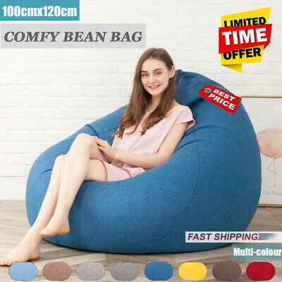 Large Beanbag Teen Bean Bag Chair Kids Seat Adult Childrens Chair Cover Gray