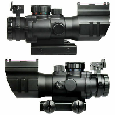 For Rifle Tactical Tri-illuminated 4X32 Prismatic Scope&Fiber Optic Sight BDC