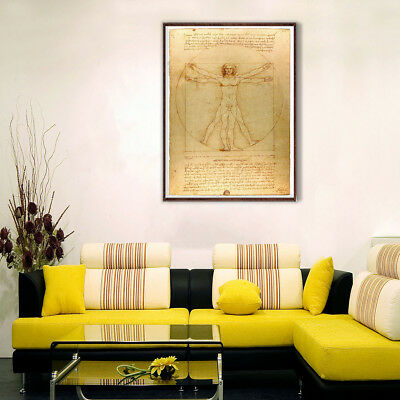 Wall Poster Canvas Print Art Da Vinci Man Painting Picture Home Room Decor Gift
