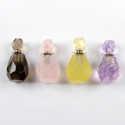 5Pcs Perfume Bottle Shape Real Amethyst Citrine Quartz Faceted Connector BWX1018