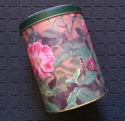 """GARDEN FLOWERS """"Pink & Green"""" Sweet Floral Collectable Metal Trinket Tin"""
