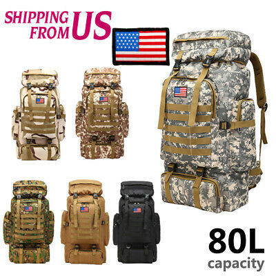 80L Waterproof Outdoor Military Rucksacks Tactical Backpack Camping Hiking bag