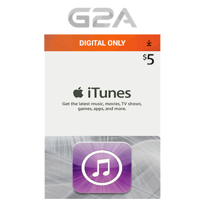 iTunes Gift Card $5 USD Key - 5 Dollar US Apple Store Code - Digital Download