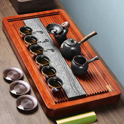 rosewood tea tray large solid wood tea table heavy waste water draining system