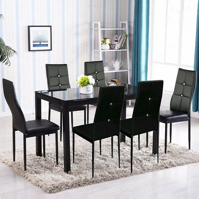 SET OF 6 Dining Room Chairs Vintage Black Faux Leather ...