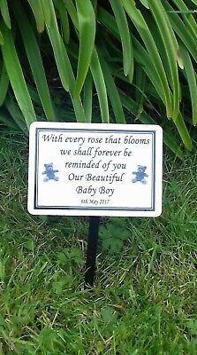 Custom Baby Memorial Stake Grave/Tree Marker Cremation with Personalised Plaque