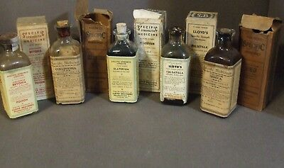 Lot Of 5 Unopened Lloyd Brothers Antique Quack Medicine Bottles With Boxes