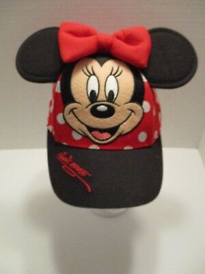 22941ad3cd7 Disney Parks Minnie Mouse Ears Baseball Cap Hat Red White Polka Dot Toddler  Size