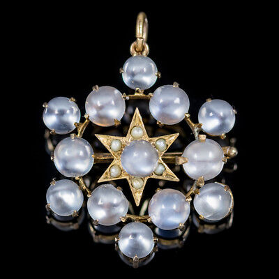 Antique Victorian Moonstone Pearl Star Pendant Brooch 18Ct Gold Circa 1880
